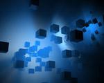 Obrázek - Modré kostky v abstrakci