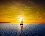 Obrázek - Překrásný západ slunce s plachetnicí