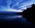 Obrázek - Neobyčejný východ slunce za jezerem