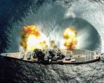 Obrázek - USS Iowa při výstřelu z kanonu