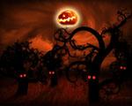 Obrázek na plochu - Strašidelný les a měsíc v masce na halloween