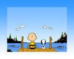 Obrázek - Chuck a Snoopy na molu u jezera