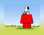 Obrázek - Snoopy píše dopis na psacím stroji