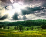 Obrázek - Úžasné údolí pod paprsky slunce