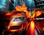 Obrázek - Auto v ohnivém městě