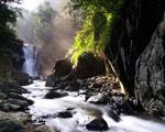 Obrázek - Vzdálený vodopád uprostřed lesa