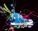 Obrázek - Pestrobarevná bota ve vektoru
