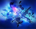 Obrázek - Modrá abstrakce s prvky 3D