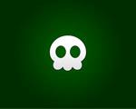 Obrázek - Bílá lebka na zeleném podkladu