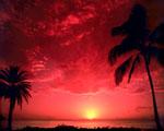 Obrázek - Červený západ slunce nad Pacifikem