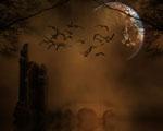 Obrázek - Temná abstrakce s měsícem a ptáky