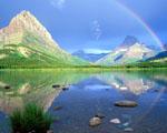 Obrázek - Duha nad horským jezerem