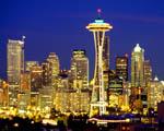 Obrázek - Seattle a mrakodrapy v noci