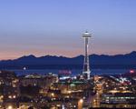Obrázek - Západ slunce za Seattle