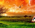 Obrázek - Let balónem při západu slunce