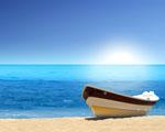 Obrázek - Slunečný den na pláží s loďkou