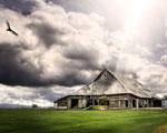 Obrázek - Přelet nad osvíceným domem