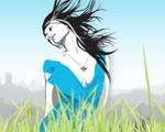 Obrázek - Dívka v trávě