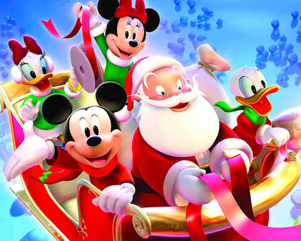 Obrázek na plochu v rozlišení 1280 x 1024 - Vánoční jízda myšáka Mickeyho a jeho přátel