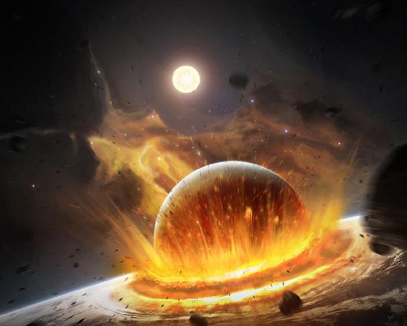 Obrázek na plochu v rozlišení 1280 x 1024 - Dopad planet a jejich konec