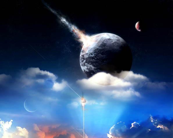 Obrázek na plochu v rozlišení 1280 x 1024 - Den kdy se planeta Země potkala s meteoritem