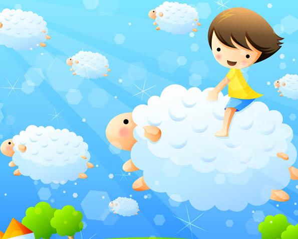 Obrázek na plochu v rozlišení 1280 x 1024 - Dětský den obloha plná oveček