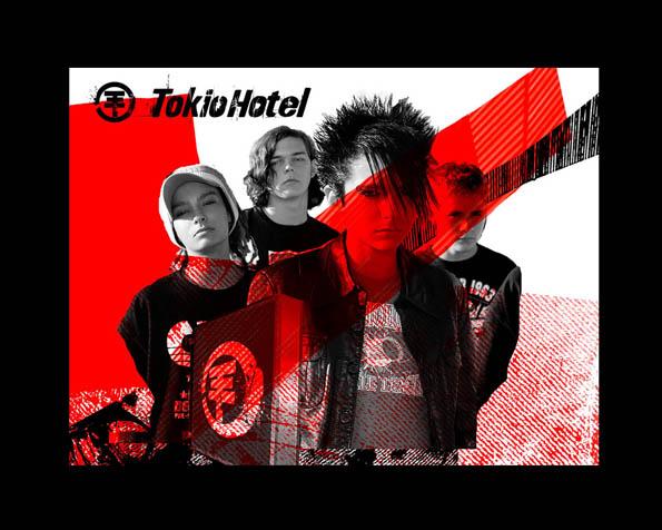 Volba: tapeta v rozlišení 1280 x 1024 - Tokio Hotel červená linie
