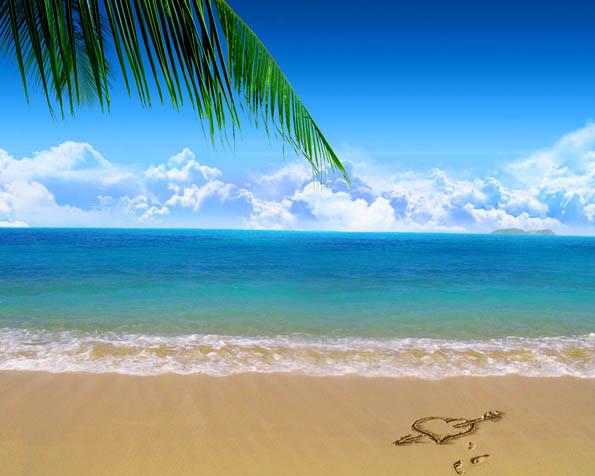 Volba: tapeta v rozlišení 1280 x 1024 - Srdce na pláži