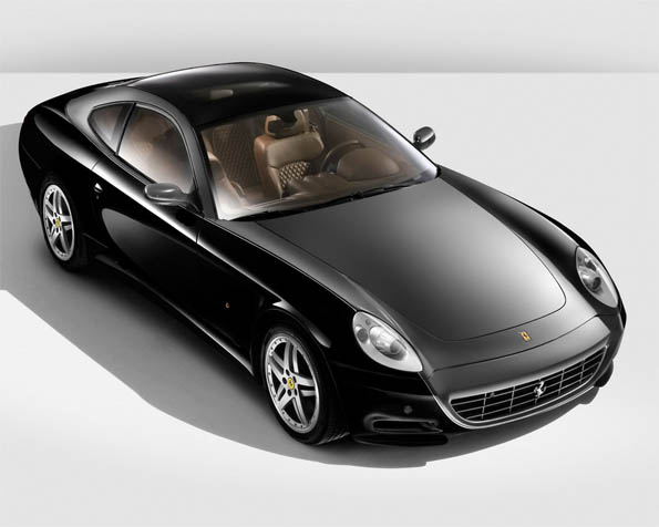Obrázek na plochu v rozlišení 1280 x 1024 - Černé Ferrari 612 Scaglietti