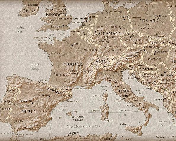 Obrázek na plochu v rozlišení 1280 x 1024 - Mapa Evropy