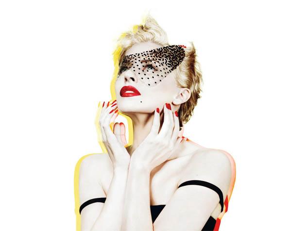 Obrázek na plochu v rozlišení 1280 x 1024 - Kylie Minogue se škraboškou