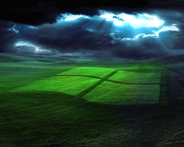 Volba: tapeta v rozlišení 1280 x 1024 - Slunečními paprsky vytvořené logo Windows
