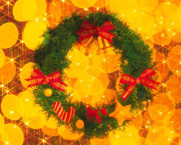 Obrázek na plochu v rozlišení 1280 x 1024 - Vánoční věnec a zlaté pozadí