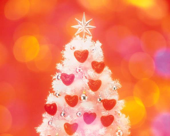 Obrázek na plochu v rozlišení 1280 x 1024 - Vánoční stromeček s hvězdou a srdíčky