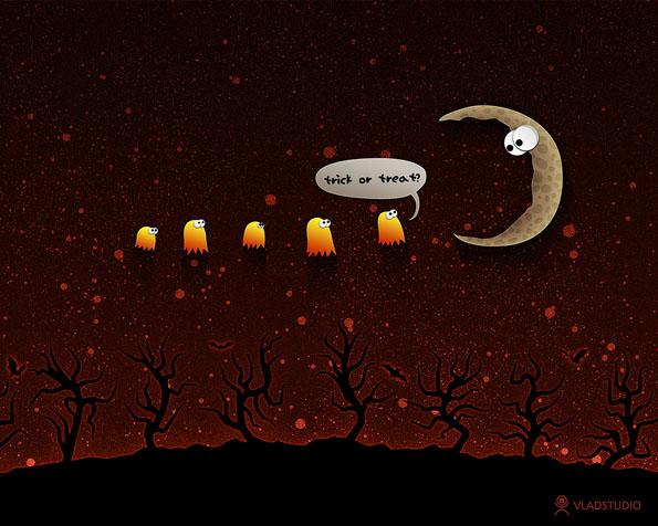 Obrázek na plochu v rozlišení 1280 x 1024 - Halloween a půlnoční koleda