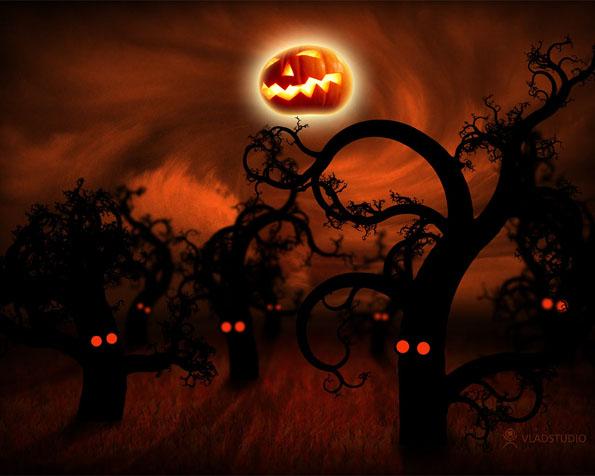 Obrázek na plochu v rozlišení 1280 x 1024 - Strašidelný les a měsíc v masce na halloween