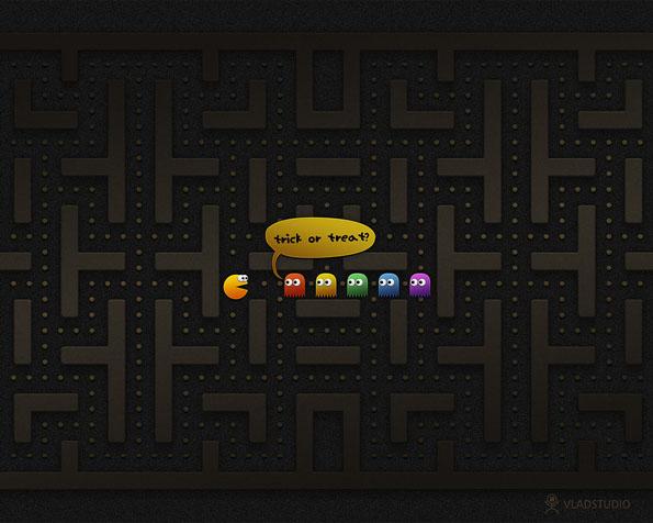 Obr�zek na plochu v rozli�en� 1280 x 1024 - Pacman a Halloween