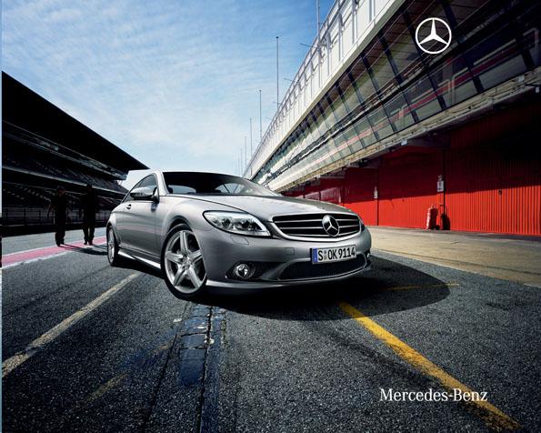 Obrázek na plochu v rozlišení 1280 x 1024 - Stříbrný Mercedes CL Kupé na autodromu