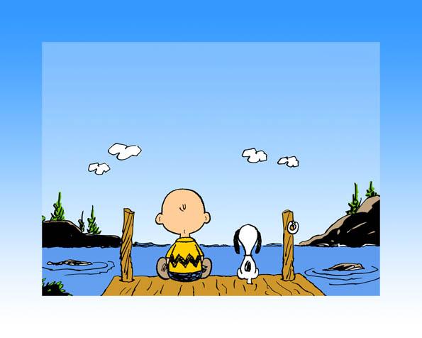 Obr�zek na plochu v rozli�en� 1280 x 1024 - Chuck a Snoopy na molu u jezera