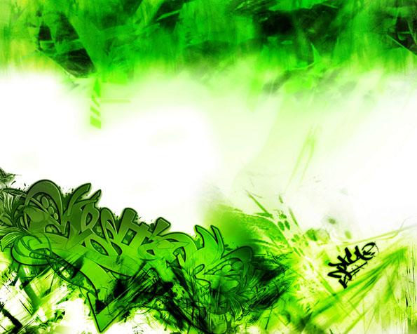 Obrázek na plochu v rozlišení 1280 x 1024 - Zelenobílá grafity abstrakce