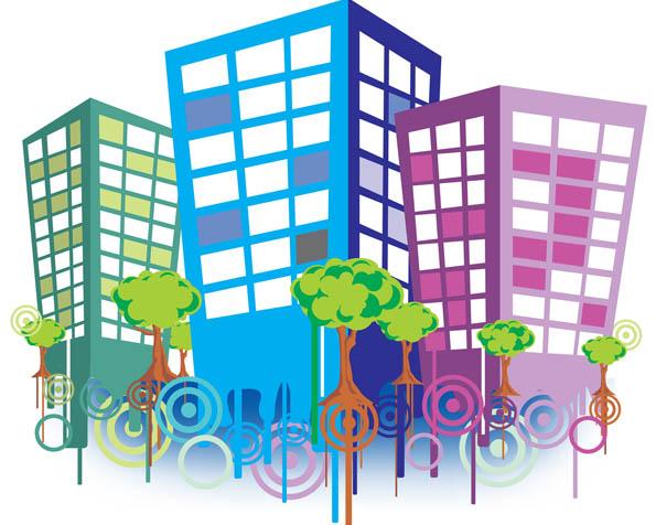 Obrázek na plochu v rozlišení 1280 x 1024 - Veselé budovy