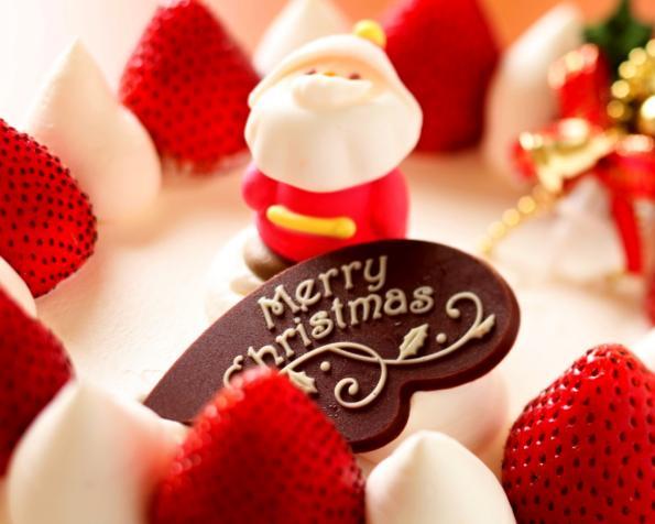 Obrázek na plochu v rozlišení 1280 x 1024 - Veselé Vánoce a jahodový dort