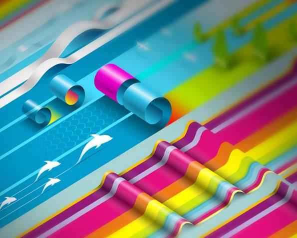 Obr�zek na plochu v rozli�en� 1280 x 1024 - Barevn� narolovan� pap�r