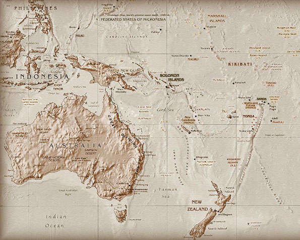 Volba: tapeta v rozlišení 1280 x 1024 - Mapa Austrálie a přilehlých ostrovů