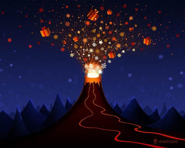 Obrázek na plochu v rozlišení 1280 x 1024 - Vánoční exploze sopky