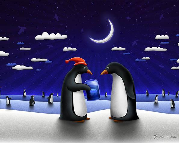 Obrázek na plochu v rozlišení 1280 x 1024 - Malý vánoční dárek od tučňáka