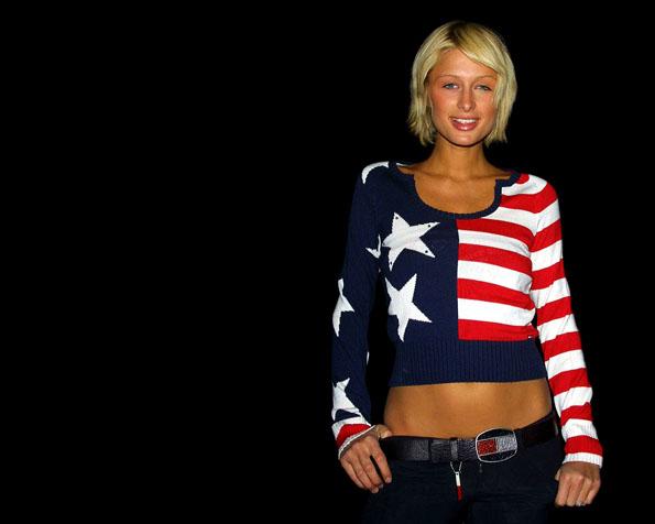 Obrázek na plochu v rozlišení 1280 x 1024 - Paris Hilton oblečená v USA stylu