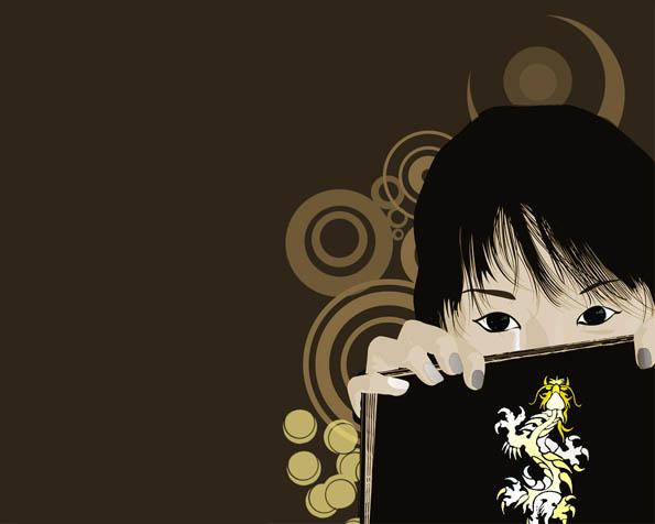 Obrázek na plochu v rozlišení 1280 x 1024 - Ukryt za knihou