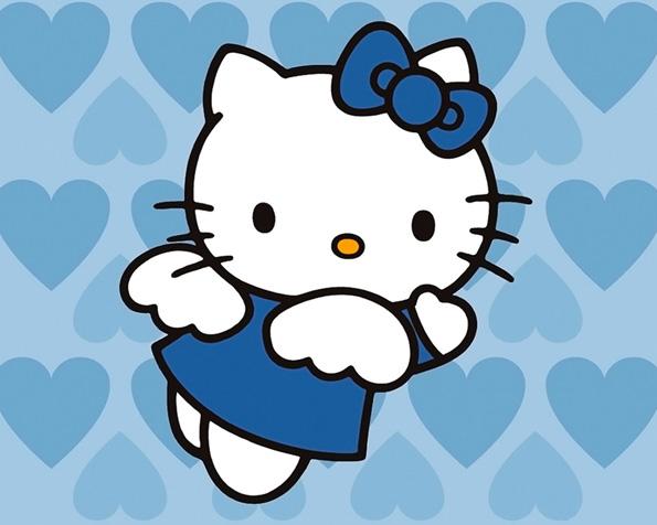 Obrázek na plochu v rozlišení 1280 x 1024 - Andělsky modrá Hello Kitty