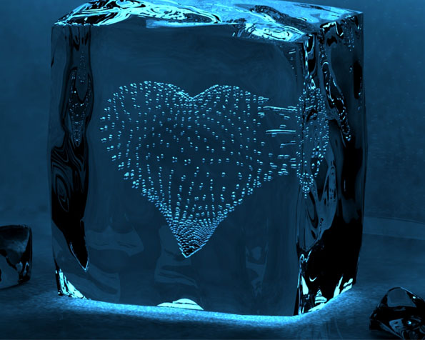 Obrázek na plochu v rozlišení 1280 x 1024 - Srdce v kostce ledu